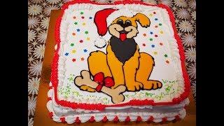 МАСТЕР КЛАСС по Торту РАСКРАСКЕ Выравнивание торта КРЕМОМ Новогоднее украшение торта