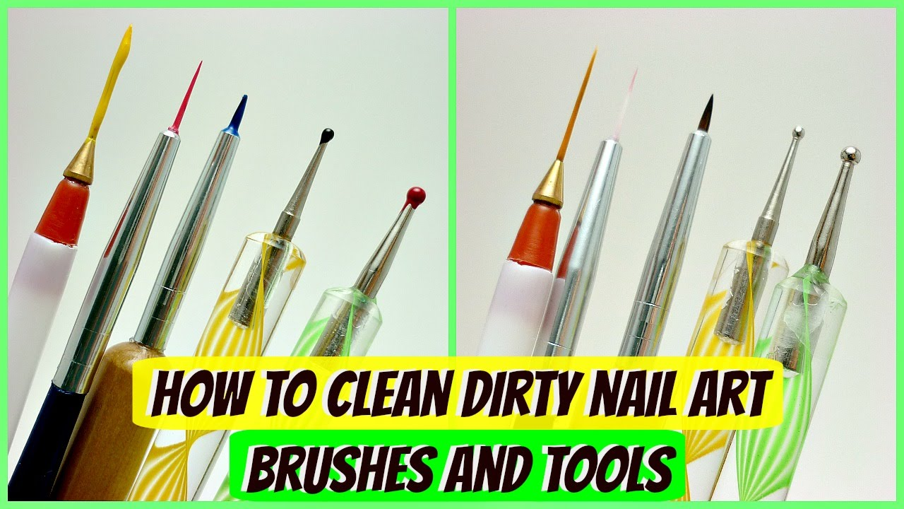 How To Clean Nail Art Brushes And Dotting Tools Youtube
