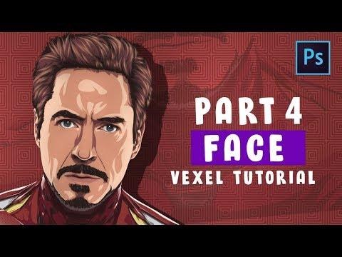[ Photoshop Tutorial ] Vector / Vexel Art [PART 4 - FACE ] (IRONMAN) thumbnail