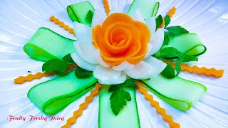 Repeat youtube video Carrot Rose Sitting On Onion lotus Flower With Great Cucumber Designs