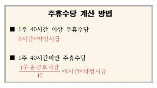 알기쉬운 노동법 짤막영상 4강      최저임금.주휴수…