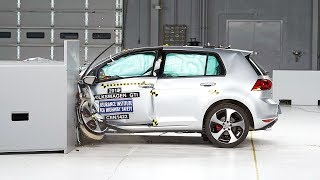 2015 Volkswagen GTI small overlap IIHS crash test(2015 Volkswagen GTI small overlap 40 mph IIHS crash test Overall evaluation: Good Full rating at http://www.iihs.org/iihs/ratings/vehicle/v/volkswagen/gti/2015., 2014-06-03T14:00:06.000Z)
