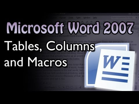 Word - Tables Columns and Macros