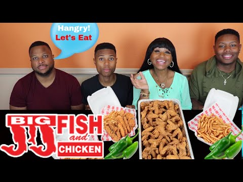 JJ Fish And Chicken Mukbang/75 Wings/Fries/Jalapenos/BBQ Sauce