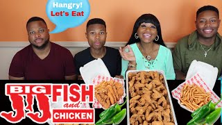 JJ Fish and Chicken Mukbang/75 Wings/Fries/Jalapenos/BBQ Sauce