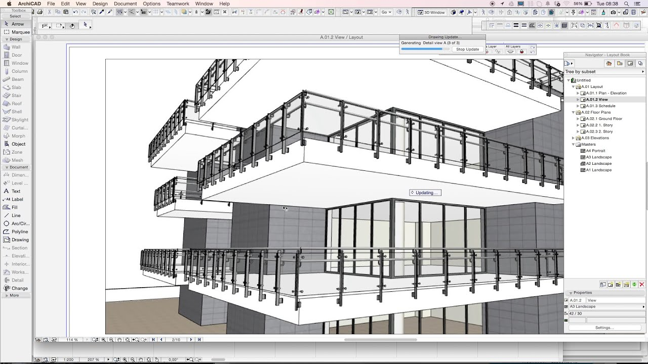3dmd Railing Drawing An Archicad Railing On A Building