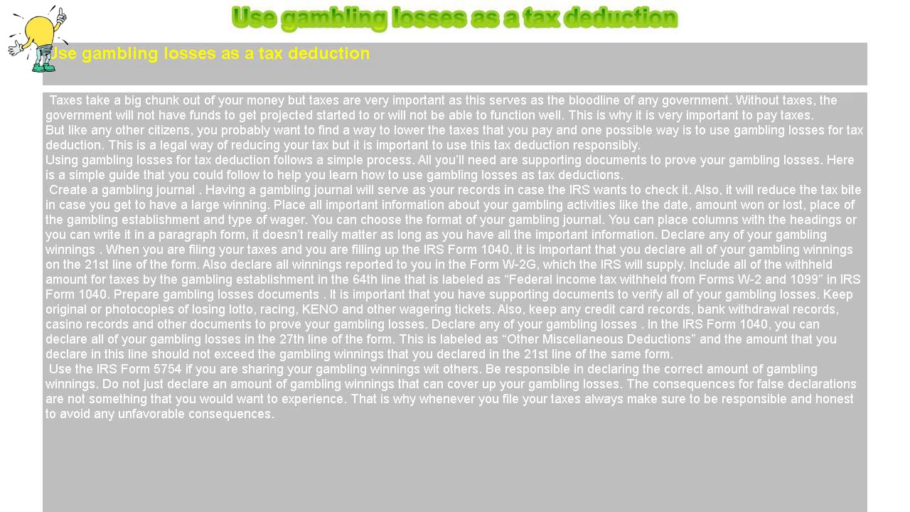 How to : Use gambling losses as a tax deduction
