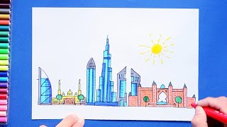 How to draw and color Dubai City Skyline