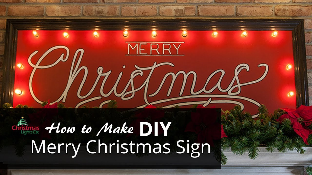 Christmas Sign.Diy Merry Christmas Sign With Marquee Lights