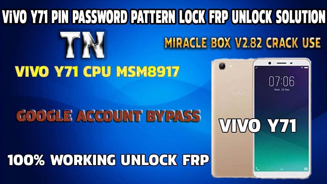 Vivo Y71 Pin Screen Lock Pattern Password Frp Unlock Solution 100% Tested