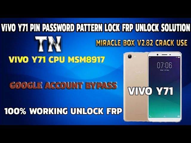 Vivo Y71 Pin Screen Lock Pattern Password Frp Unlock
