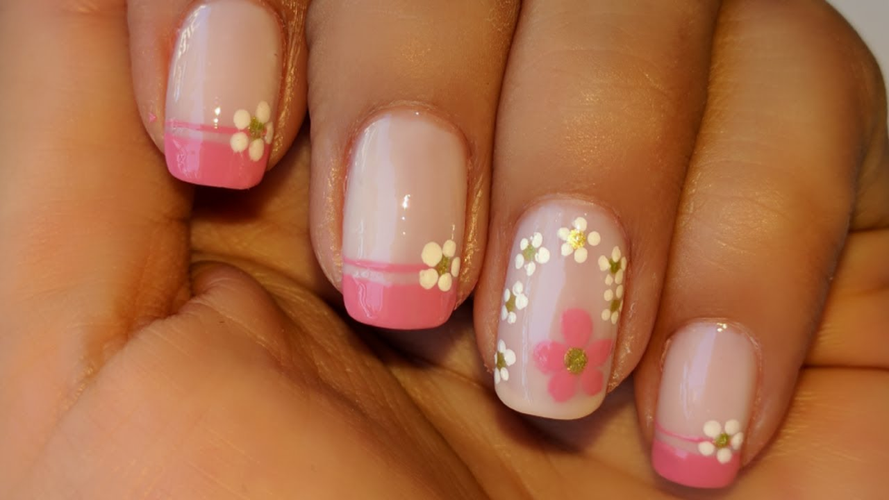 decoracion de u as frances rosado pink french nail art