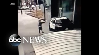 New security footage shows moments after LA police officers shot in their cruiser | WNT