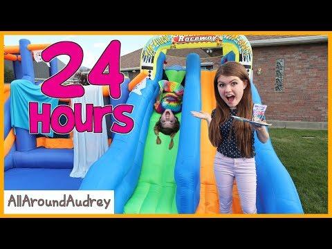 24 Hours In Giant Bounce House Slide / AllAroundAudrey