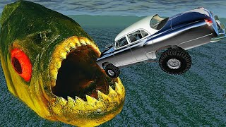 BeamNG.drive - Cars Jumping into Mouth of Hungry PIRANHA