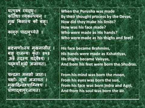 Rig Veda Full Purusha Suktam Devanagari Sanskrit English translations.wmv
