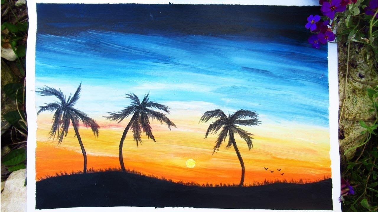 Peinture Acrylique Debutant Coucher De Soleil Youtube