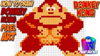 How to Draw Donkey Kong - Arcade 8-Bit Pixel Art Drawing Tutorial
