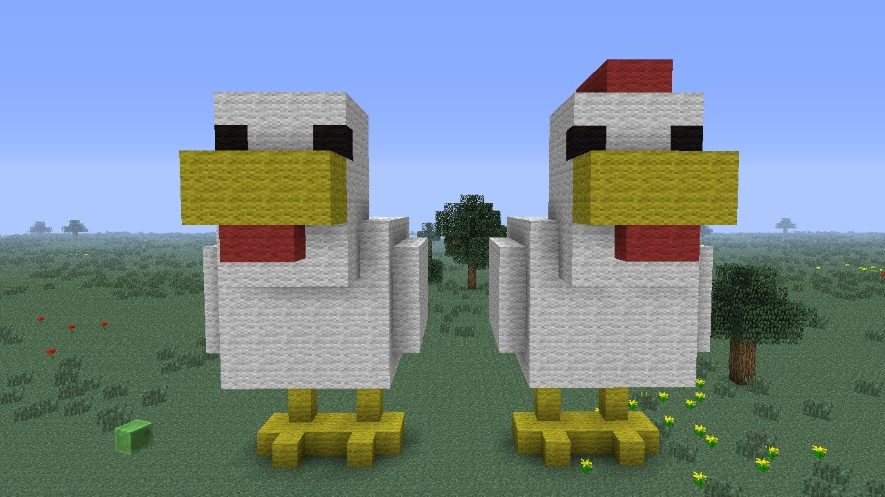 How To Make A Chicken Statue Of Wool In Minecraft Hd