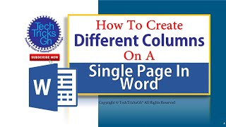 How To Create Different Columns On A Single Page In Word