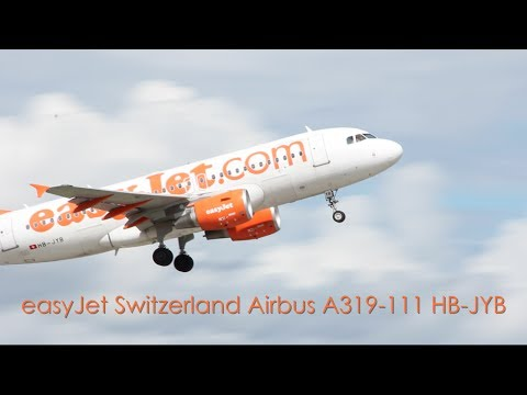 easyJet Airbus A319-111 - HB-JYB taxi and takeoff at EuroAirport Basel Mulhouse Freiburg (BSL/LFSB)