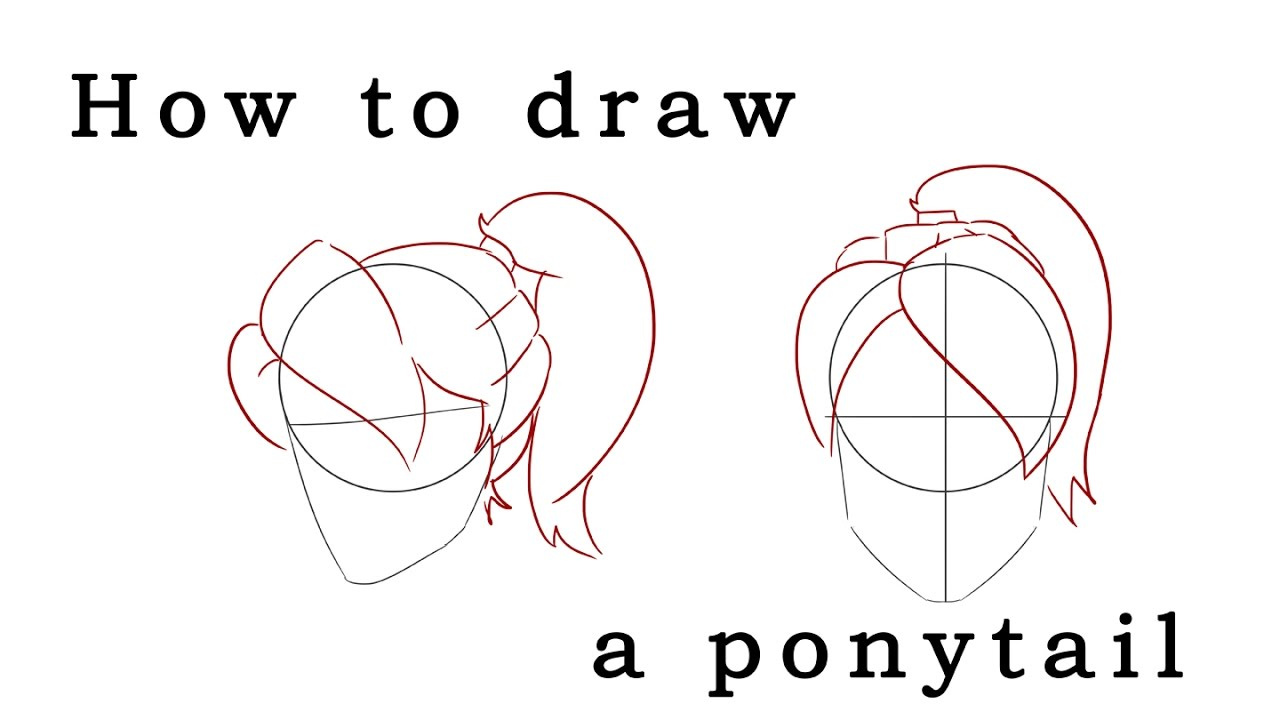 Uncategorized How To Draw A Pony Tail how to draw a ponytail hairstyle two angles youtube angles