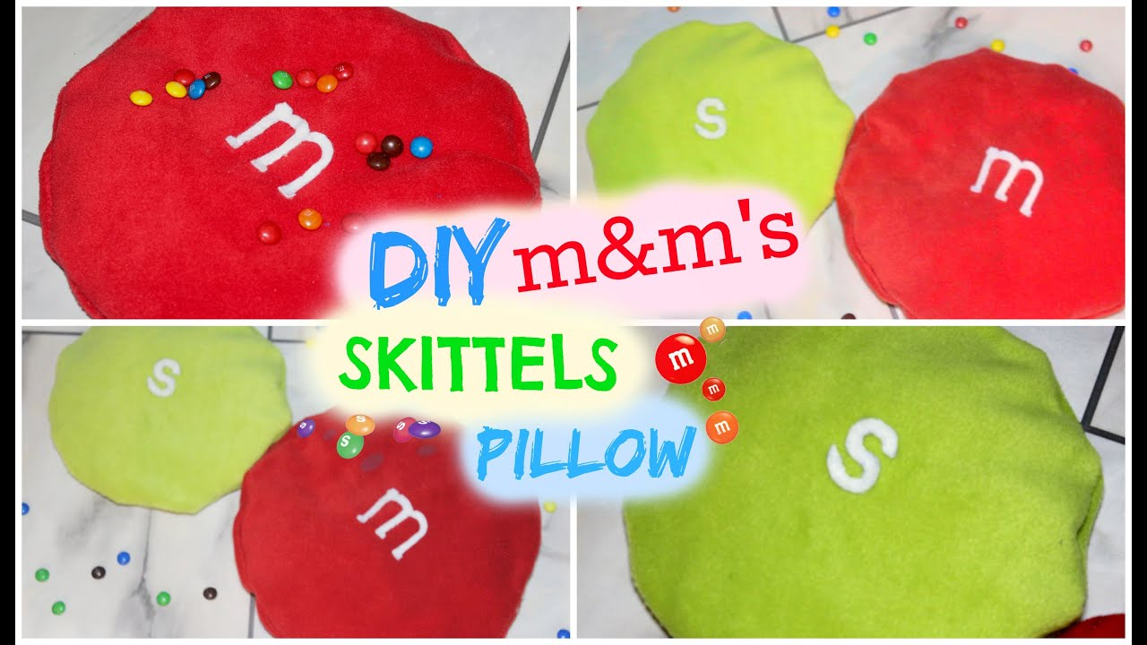 DIY Room Decor ♥ Cute and Easy M\u0026M\u0027S Pillow and Skittles Pillow (No Sew) \u2022 heartcindy - YouTube