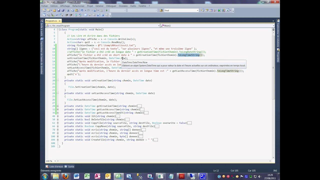 Tutoriel 40 File Set Creation time en C# en français