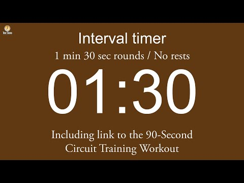 Interval timer - 1 min 30 sec rounds / No rests / Flexible length (Five beep countdown version)