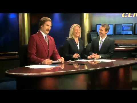 Will Ferrell as Ron Burgundy joins North Dakota TV newscast