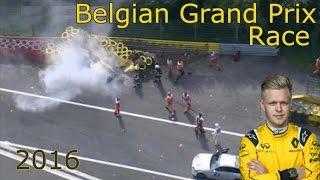 Гран При Бельгии 2016 | кевин магнуссен авария ~290кмч(F1 Belgian Grand Prix 2016 renault crash Гран При Бельгии 2016 кевин магнуссен Авария рено., 2016-08-28T23:37:55.000Z)