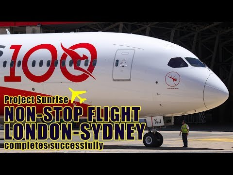 Qantas flight lands after non-stop journey from London to Sydney - 동영상