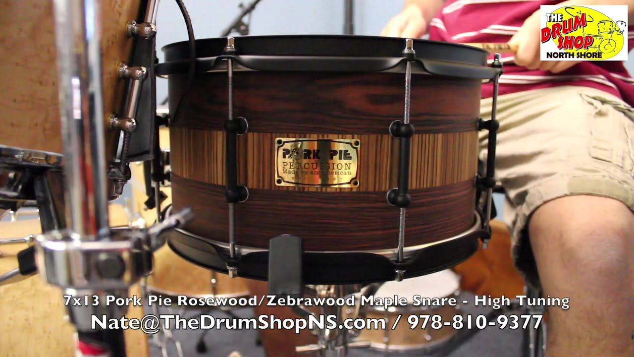 pork pie rosewood zebrawood snare 7x13 one of a kind the drum shop north shore youtube. Black Bedroom Furniture Sets. Home Design Ideas