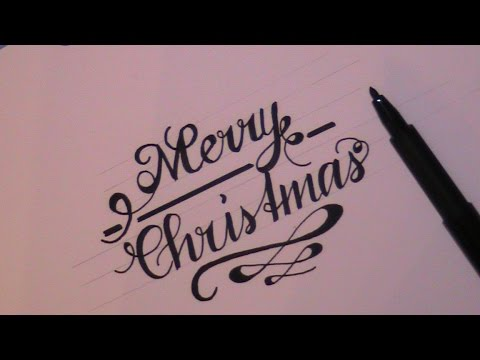 cursive fancy letters - how to write Merry Christmas - YouTube