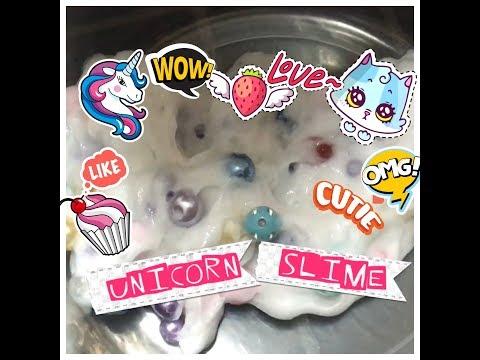 Satisfying slime ASMR pretty unicorn pearl beads and crystals UK homemade DIY 2017 🦄🌸❤️