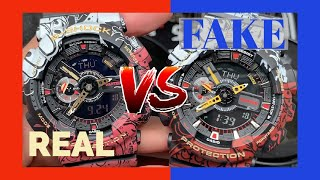 REAL VS FAKE ONE PIECE GA110 - Easy Way to Tell - What's inside the fake?  Comparison - GA110JOP