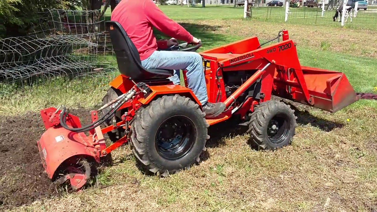 Ingersoll 7020 4wd Loader Tractor Tilling The Garden Youtube