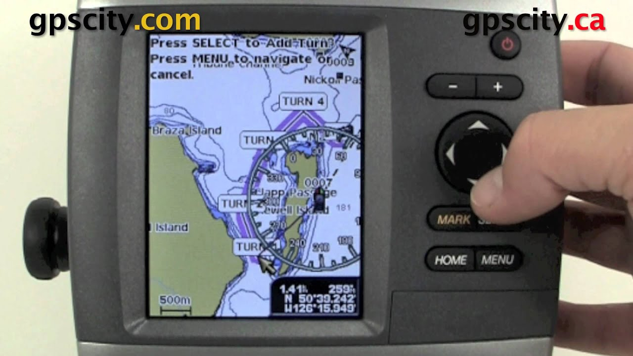 garmin gpsmap 4xx video manual placing a route using the map [ 1280 x 720 Pixel ]
