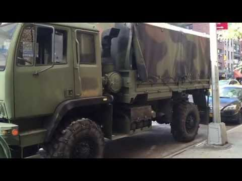 UNITED STATES NATIONAL GUARD TRANSPORT UNIT IN THE MURRAY HILL AREA OF MANHATTAN IN NEW YORK CITY.