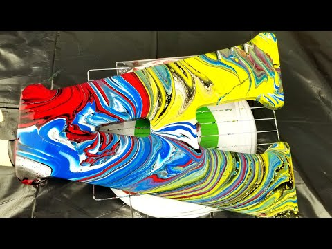 """(14) Primary Colors Acrylic pour painting on wooden letter  """"A"""""""