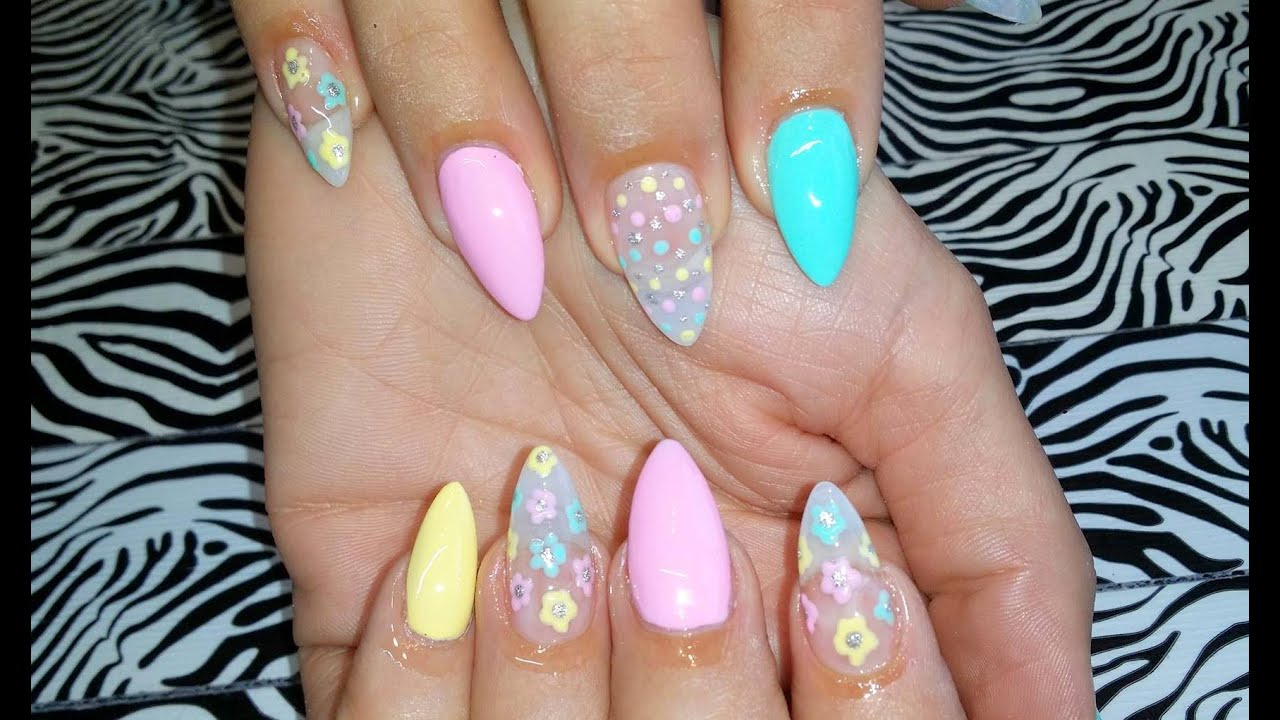 Acrylic Nail Infill L Pastel Flowers L Nail Design Youtube