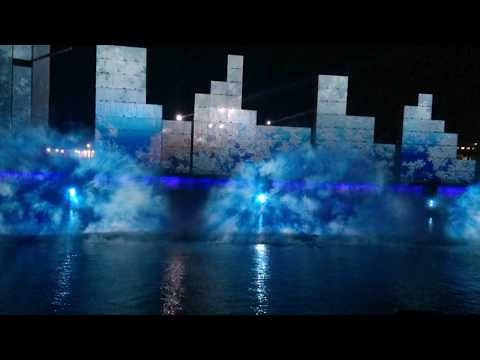 Canada Day light show in old port Montreal Quebec Canada Full Length HD
