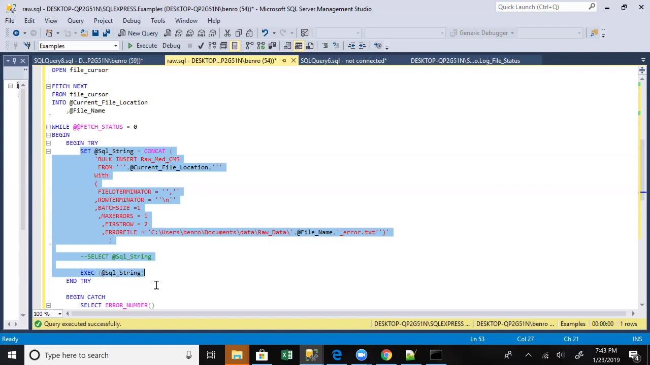 Dynamically Bulk Inserting CSV Data Into A SQL Server Table
