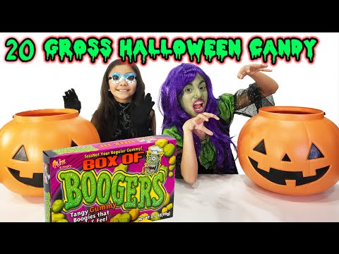 20+ GROSS HALLOWEEN CANDY Taste Test | Booger Candy | Chubby Bunny Challenge