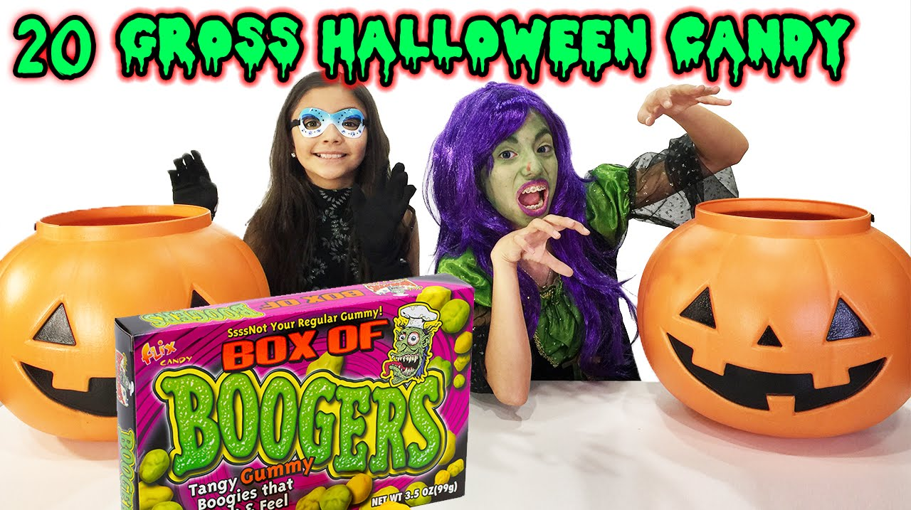 20 gross halloween candy taste test booger candy chubby bunny challenge youtube