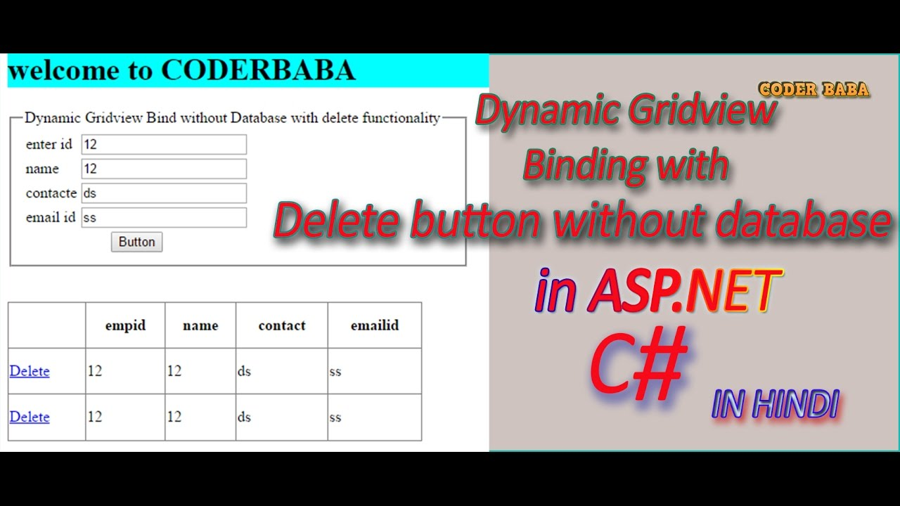 Dynamic Gridview Binding without Database with delete button in asp net c#