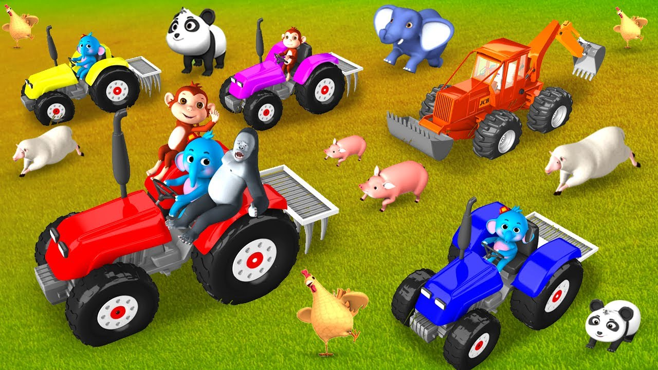 Funny Gorilla and Elephant Farming with Giant JCB & Tractor - Animal Comedy Videos Fun 3D Cartoo