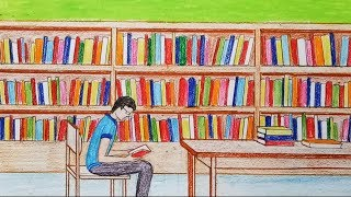 How to draw library step by step (very easy)