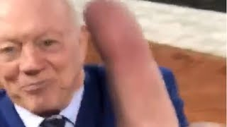 Raiders Fan Flips Jerry Jones the Finger Right to His Face!