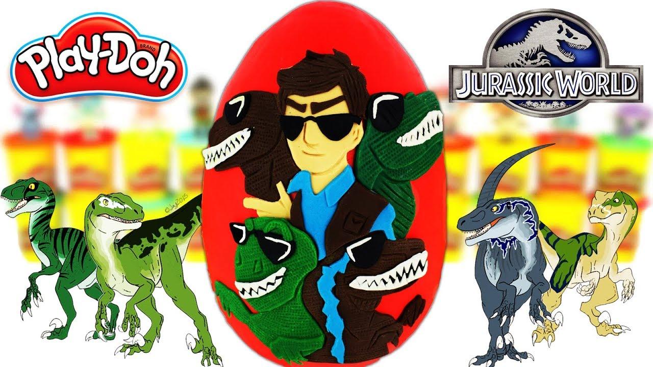 Huevo Sorpresa Gigante de Raptor Squad Velociraptores Jurassic World 2 Plastilina Play doh Español